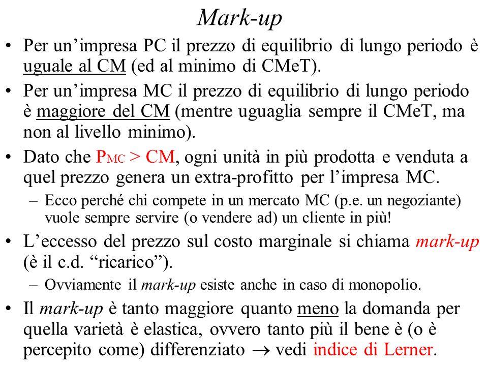 Mark-up Per unimpresa PC il prezzo di equilibrio di lungo periodo è uguale al CM (ed al minimo di CMeT).