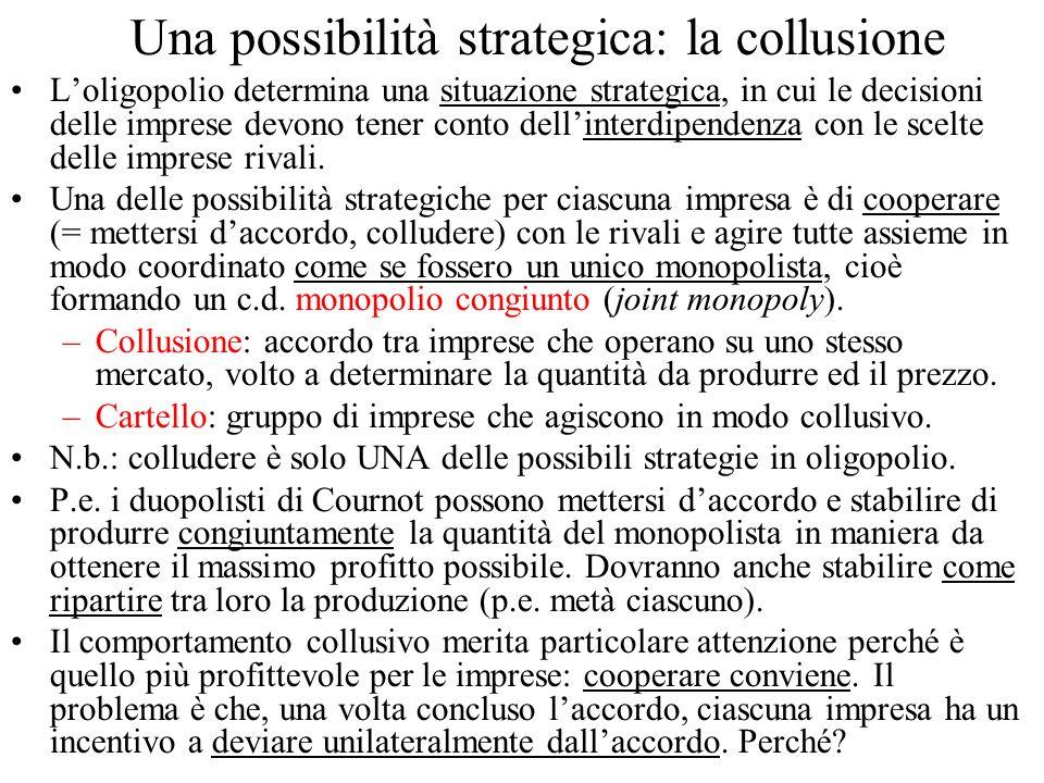 Una possibilità strategica: la collusione Loligopolio determina una situazione strategica, in cui le decisioni delle imprese devono tener conto dellinterdipendenza con le scelte delle imprese rivali.