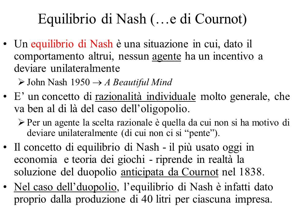 Equilibrio di Nash (…e di Cournot) Un equilibrio di Nash è una situazione in cui, dato il comportamento altrui, nessun agente ha un incentivo a deviare unilateralmente John Nash 1950 A Beautiful Mind E un concetto di razionalità individuale molto generale, che va ben al di là del caso delloligopolio.