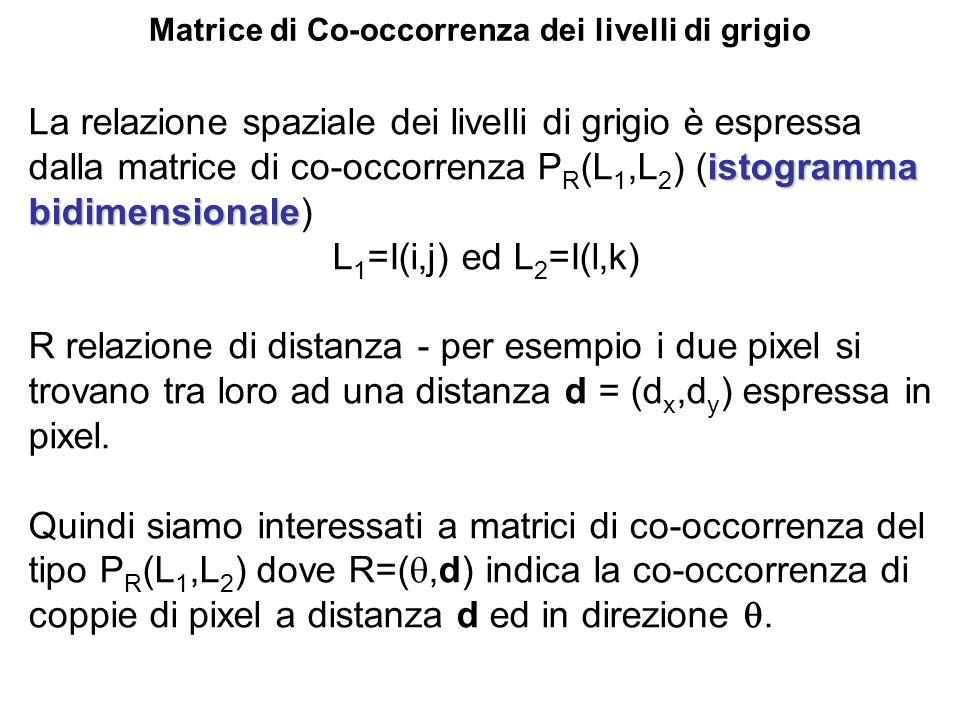 Matrice di Co-occorrenza dei livelli di grigio istogramma bidimensionale La relazione spaziale dei livelli di grigio è espressa dalla matrice di co-oc