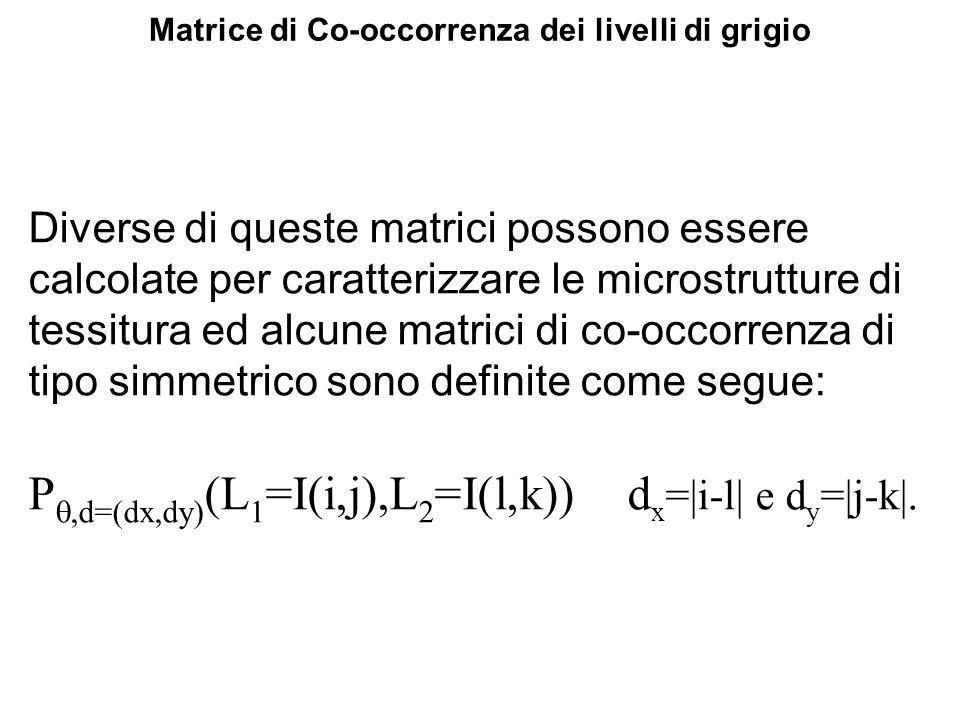 Matrice di Co-occorrenza dei livelli di grigio Diverse di queste matrici possono essere calcolate per caratterizzare le microstrutture di tessitura ed