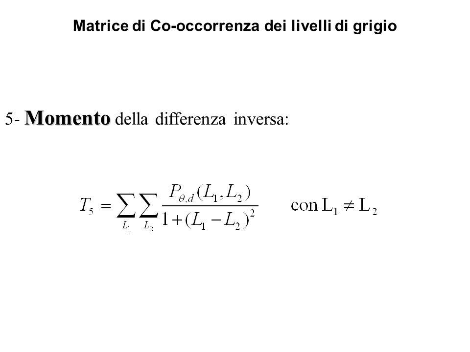 Matrice di Co-occorrenza dei livelli di grigio Momento 5- Momento della differenza inversa: