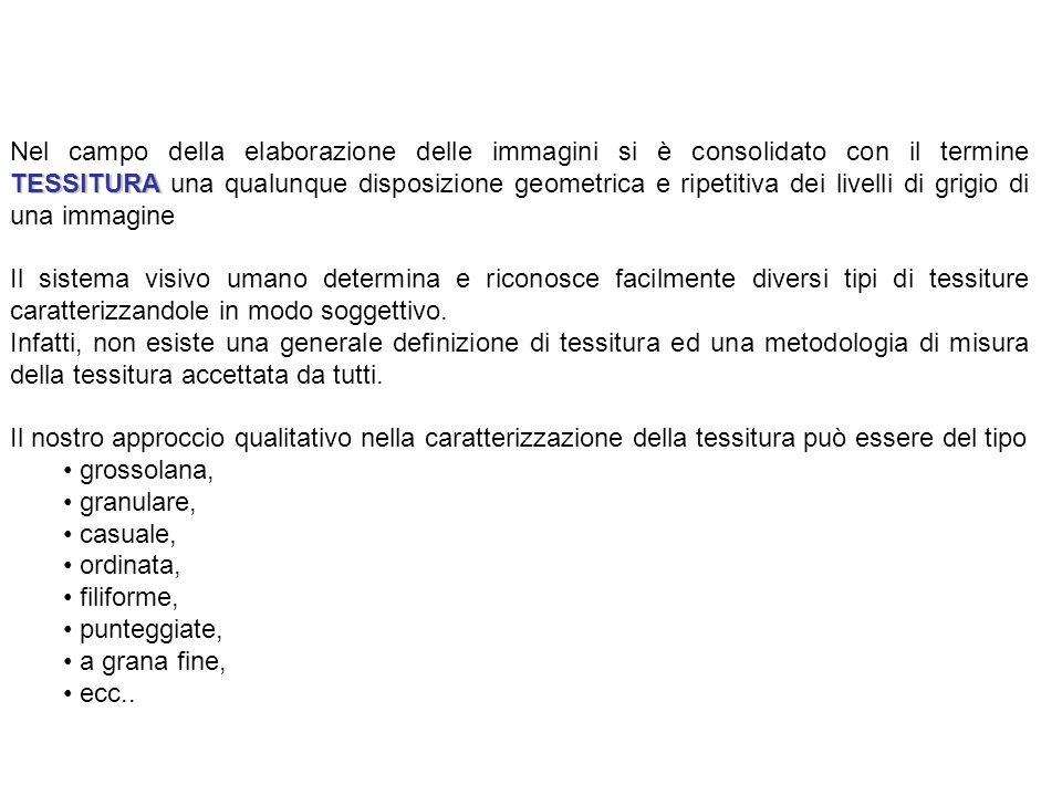 Tessitura mediante filtraggio spaziale Le maschere proposte da Laws sono le seguenti