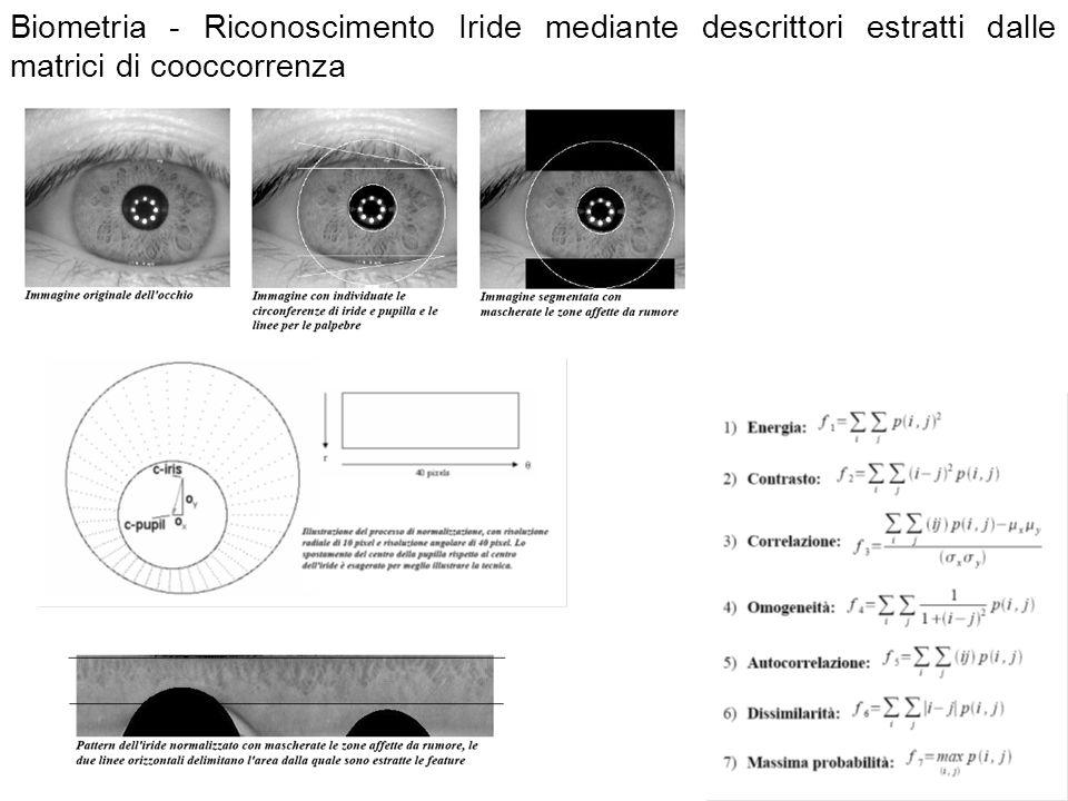 Biometria - Riconoscimento Iride mediante descrittori estratti dalle matrici di cooccorrenza