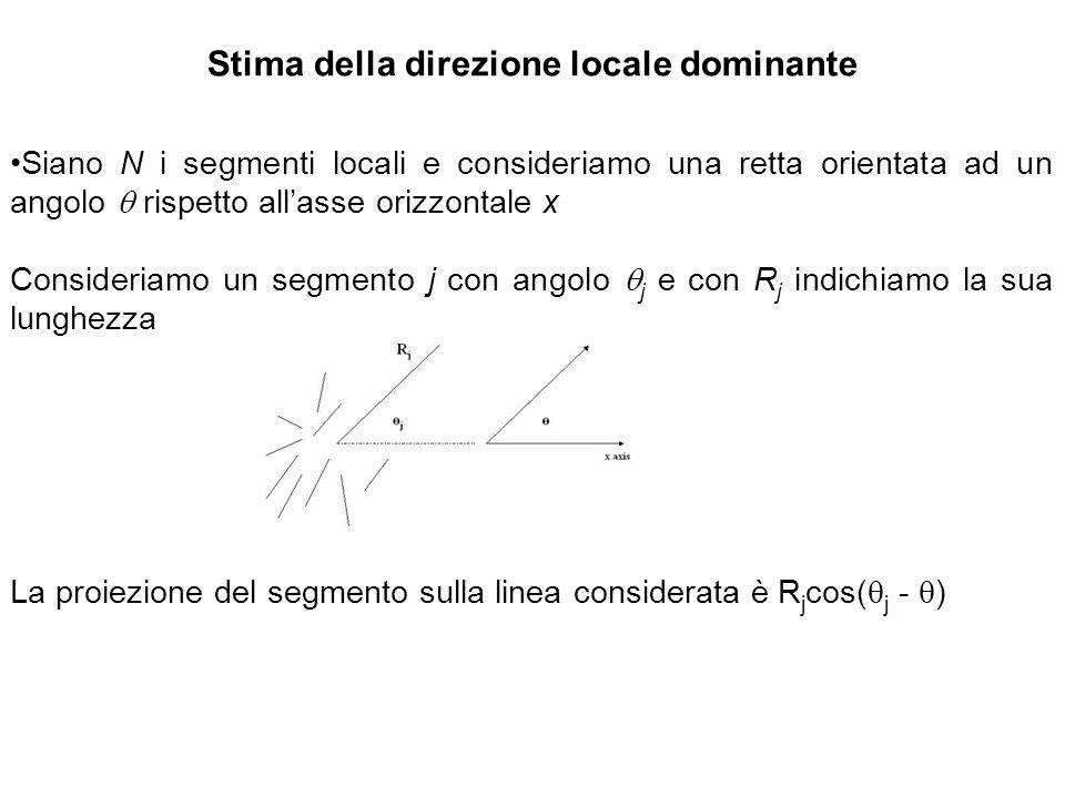 Stima della direzione locale dominante Siano N i segmenti locali e consideriamo una retta orientata ad un angolo rispetto allasse orizzontale x Consid