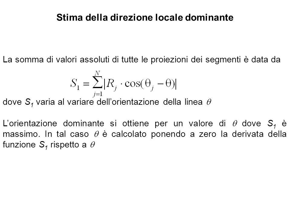 Stima della direzione locale dominante La somma di valori assoluti di tutte le proiezioni dei segmenti è data da dove S 1 varia al variare dellorienta