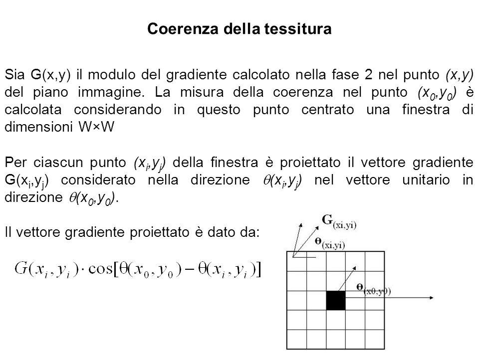 Coerenza della tessitura Sia G(x,y) il modulo del gradiente calcolato nella fase 2 nel punto (x,y) del piano immagine. La misura della coerenza nel pu