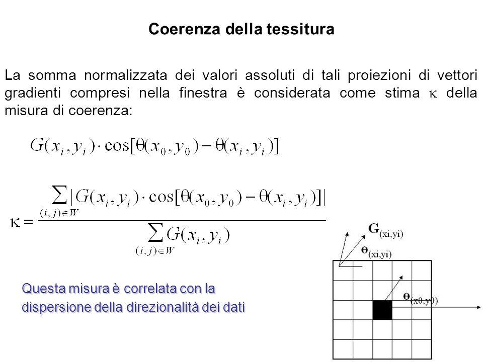 Coerenza della tessitura La somma normalizzata dei valori assoluti di tali proiezioni di vettori gradienti compresi nella finestra è considerata come