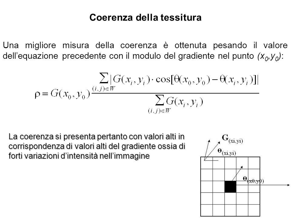 Coerenza della tessitura Una migliore misura della coerenza è ottenuta pesando il valore dellequazione precedente con il modulo del gradiente nel punt