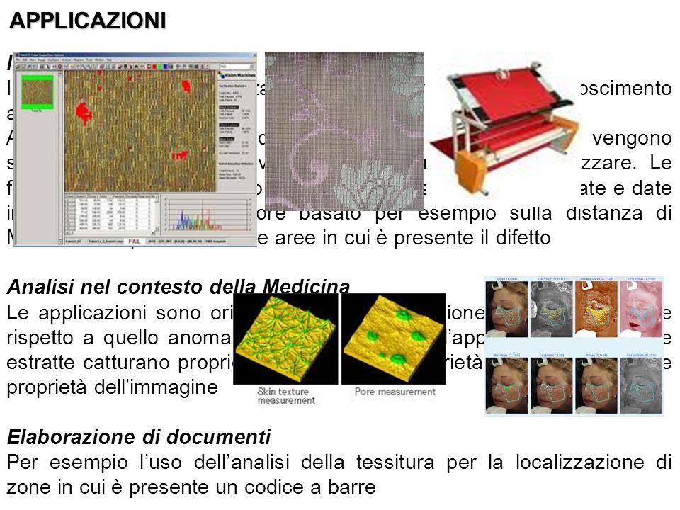 Ispezionamento In campo tessile, sono stati utilizzati algoritmi per il riconoscimento automatico dei difetti A partire da maschere di convoluzione, b