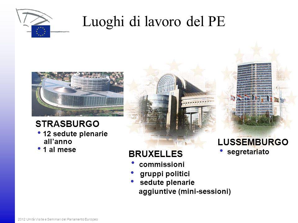 2012 Unità Visite e Seminari del Parlamento Europeo Luoghi di lavoro del PE LUSSEMBURGO segretariato BRUXELLES commissioni gruppi politici sedute plen