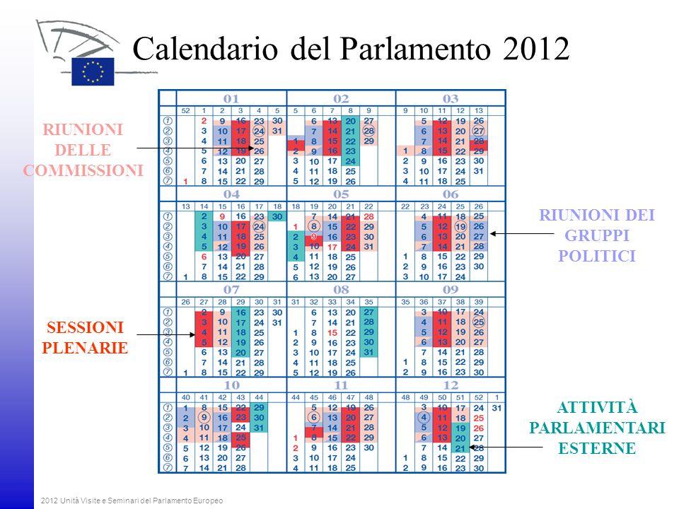 2012 Unità Visite e Seminari del Parlamento Europeo Calendario del Parlamento 2012 SESSIONI PLENARIE RIUNIONI DELLE COMMISSIONI ATTIVITÀ PARLAMENTARI