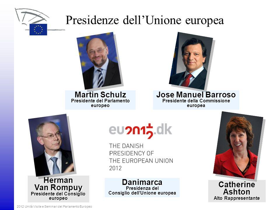2012 Unità Visite e Seminari del Parlamento Europeo Presidenze dellUnione europea Martin Schulz Presidente del Parlamento europeo Herman Van Rompuy Pr