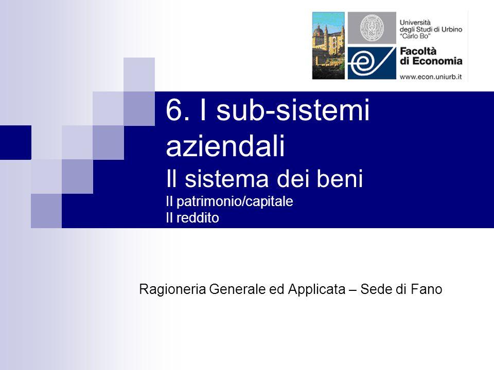 6. I sub-sistemi aziendali Il sistema dei beni Il patrimonio/capitale Il reddito Ragioneria Generale ed Applicata – Sede di Fano
