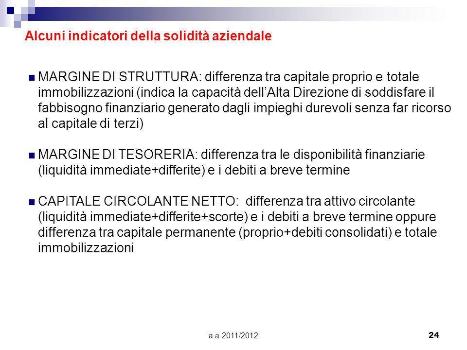 a.a 2011/201224 Alcuni indicatori della solidità aziendale MARGINE DI STRUTTURA: differenza tra capitale proprio e totale immobilizzazioni (indica la