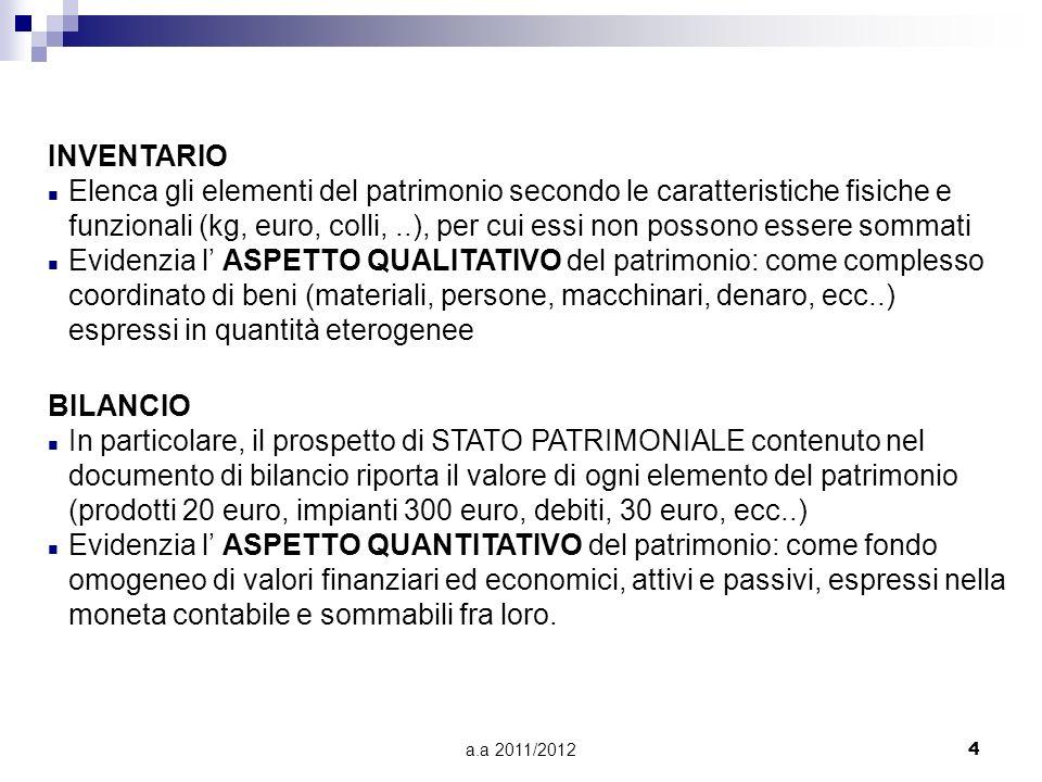 a.a 2011/20124 INVENTARIO n Elenca gli elementi del patrimonio secondo le caratteristiche fisiche e funzionali (kg, euro, colli,..), per cui essi non