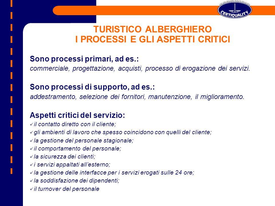 TURISTICO ALBERGHIERO I PROCESSI E GLI ASPETTI CRITICI Sono processi primari, ad es.: commerciale, progettazione, acquisti, processo di erogazione dei
