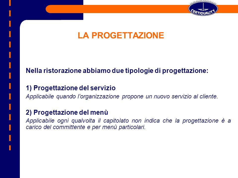 LA PROGETTAZIONE Nella ristorazione abbiamo due tipologie di progettazione: 1) Progettazione del servizio Applicabile quando lorganizzazione propone u