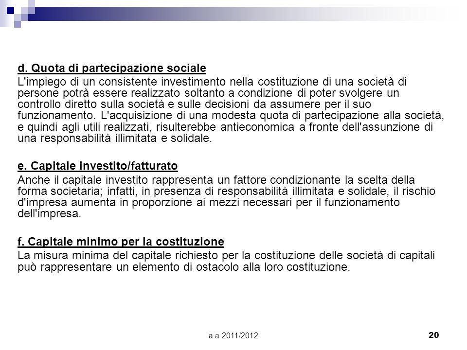 a.a 2011/201219 Alcuni criteri per la scelta della forma giuridica a. Attività svolta e redditi personali dei soci Se disponiamo di elevati redditi pe