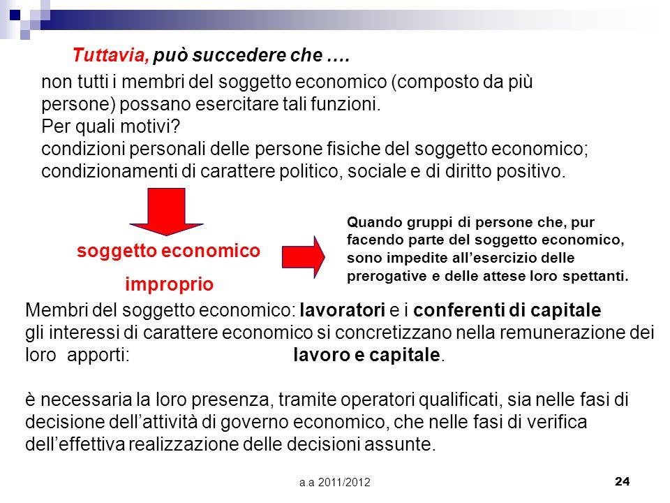 a.a 2011/201223 Il soggetto economico è la persona o il gruppo di persone che di fatto: 1) detiene il supremo potere volitivo in azienda e determina g