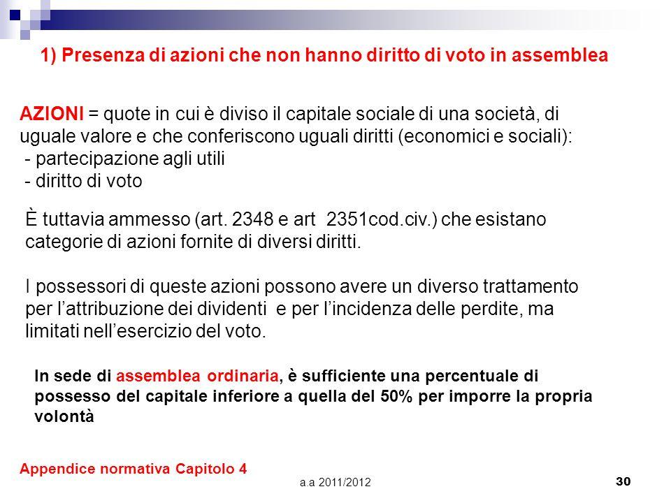 a.a 2011/201229 A) CONTROLLO CON ALIQUOTA DI CAPITALE INFERIORE AL 50% 1. PRESENZA DI AZIONI CHE NON HANNO DIRITTO DI VOTO IN ASSEMBLEA 2. INTEGRAZION