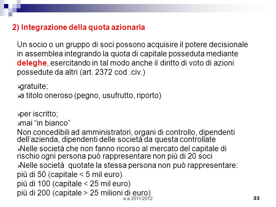 a.a 2011/201232 Lassemblea ordinaria viene convocata almeno una volta lanno e decide sulle seguenti materie: –approvazione del bilancio; –nomina degli
