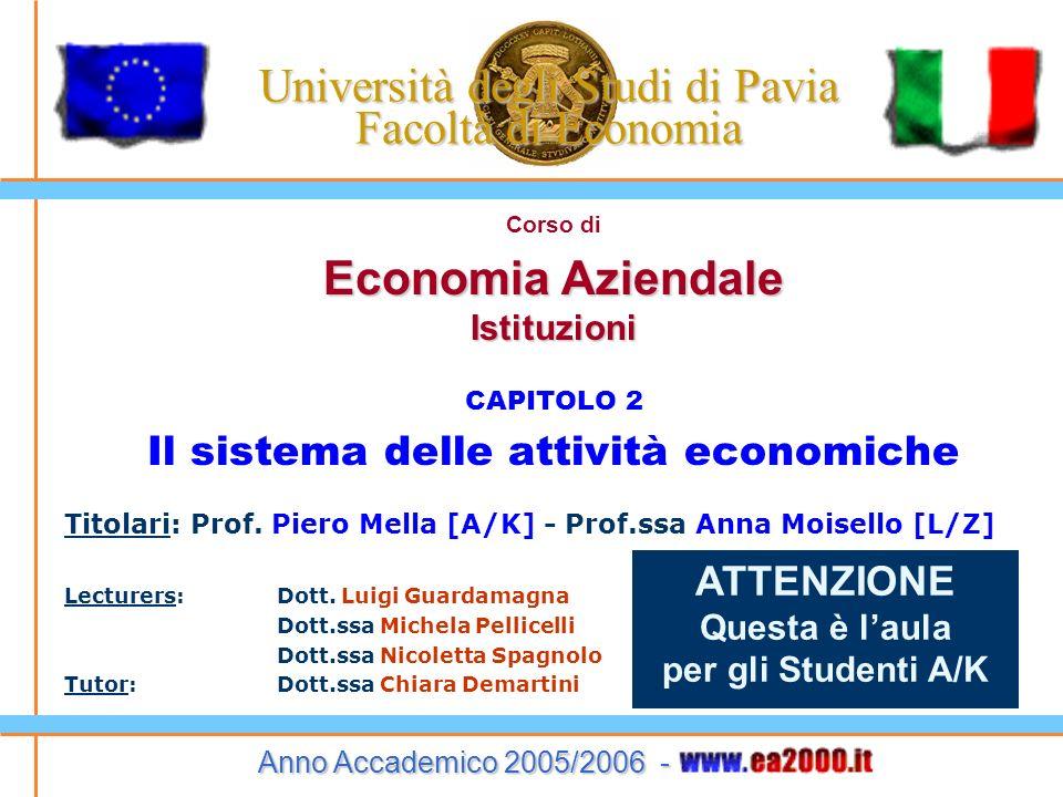 Università degli Studi di Pavia Facoltà di Economia Corso di Economia Aziendale Istituzioni CAPITOLO 2 Il sistema delle attività economiche Titolari: