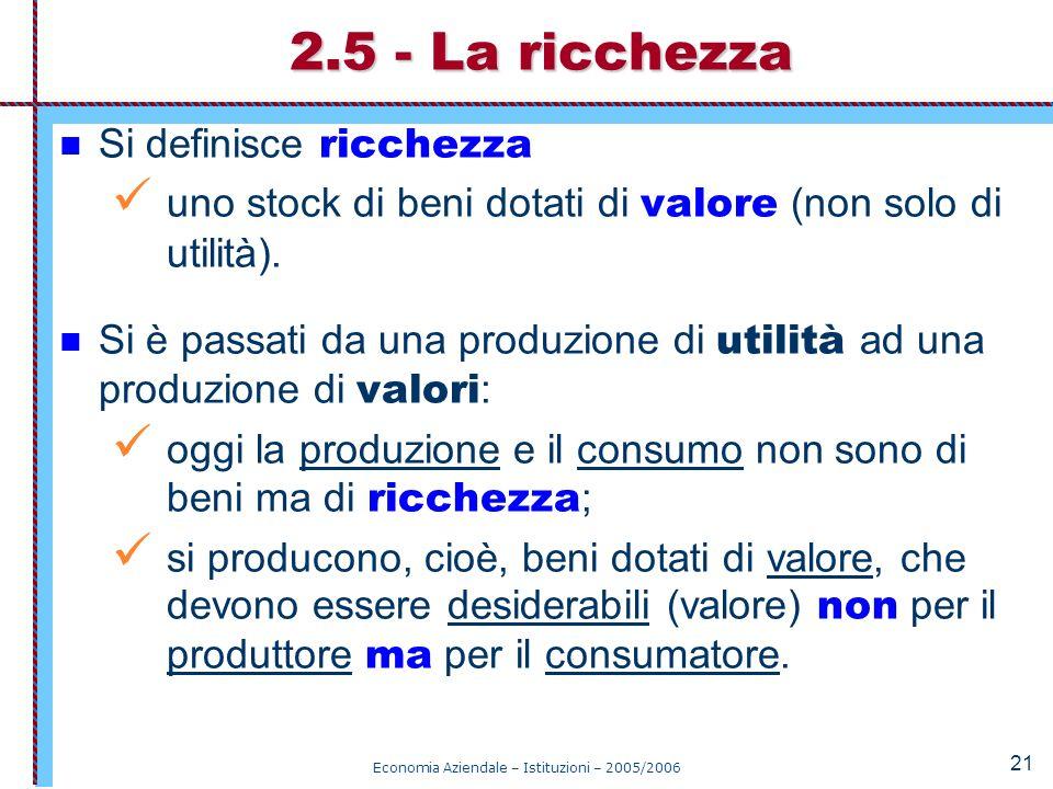 Economia Aziendale – Istituzioni – 2005/2006 21 Si definisce ricchezza uno stock di beni dotati di valore (non solo di utilità). Si è passati da una p