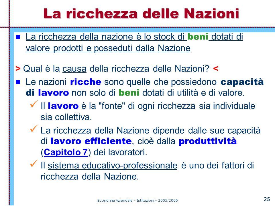 Economia Aziendale – Istituzioni – 2005/2006 25 La ricchezza della nazione è lo stock di beni dotati di valore prodotti e posseduti dalla Nazione > Qu
