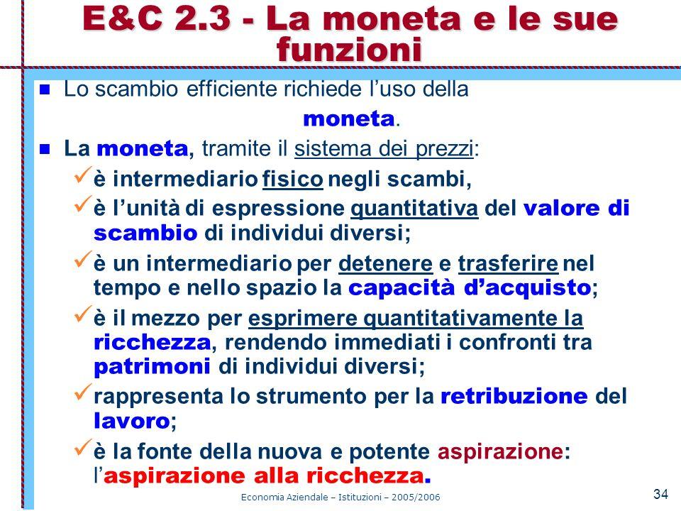 Economia Aziendale – Istituzioni – 2005/2006 34 Lo scambio efficiente richiede luso della moneta. La moneta, tramite il sistema dei prezzi: è intermed