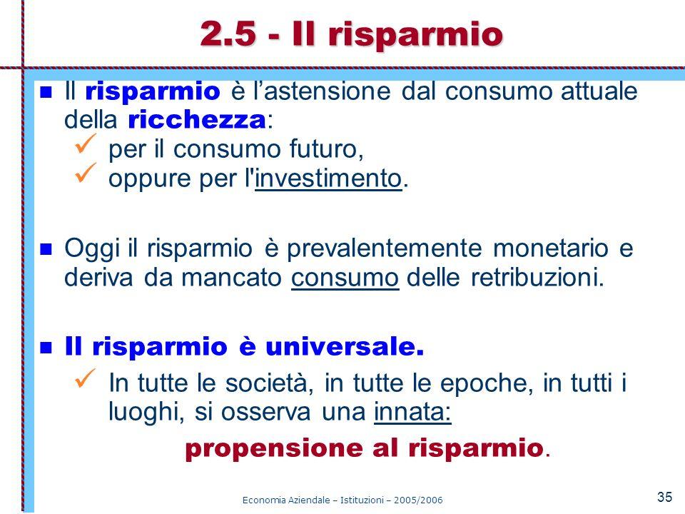 Economia Aziendale – Istituzioni – 2005/2006 35 Il risparmio è lastensione dal consumo attuale della ricchezza : per il consumo futuro, oppure per l'i