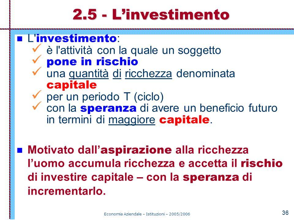 Economia Aziendale – Istituzioni – 2005/2006 36 L' investimento : è l'attività con la quale un soggetto pone in rischio una quantità di ricchezza deno