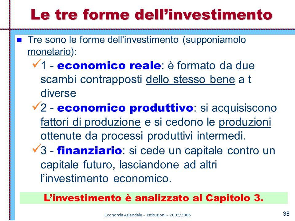 Economia Aziendale – Istituzioni – 2005/2006 38 Tre sono le forme dell'investimento (supponiamolo monetario): 1 - economico reale : è formato da due s