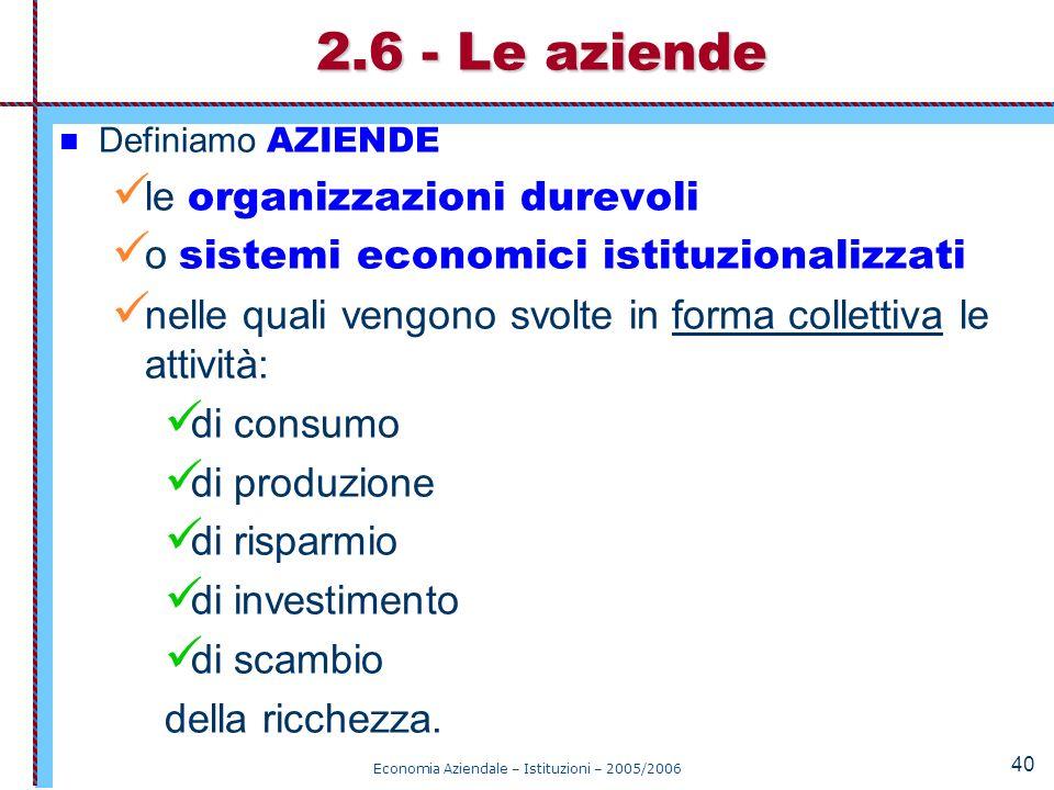 Economia Aziendale – Istituzioni – 2005/2006 40 Definiamo AZIENDE le organizzazioni durevoli o sistemi economici istituzionalizzati nelle quali vengon