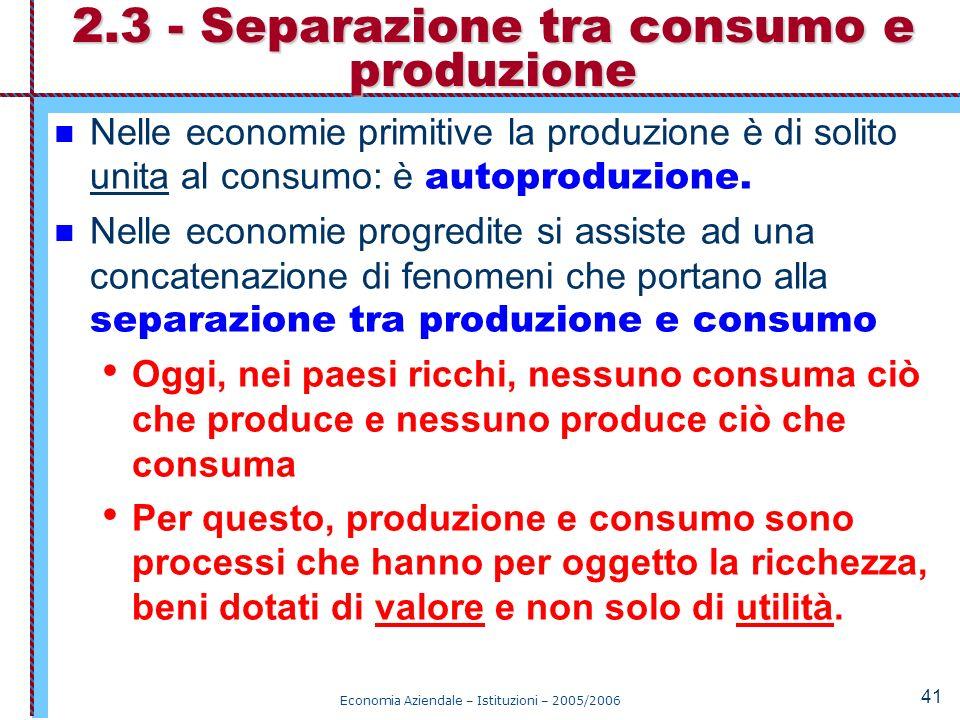 Economia Aziendale – Istituzioni – 2005/2006 41 Nelle economie primitive la produzione è di solito unita al consumo: è autoproduzione. Nelle economie