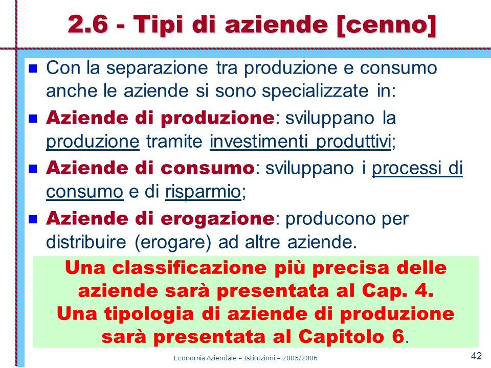 Economia Aziendale – Istituzioni – 2005/2006 42 Con la separazione tra produzione e consumo anche le aziende si sono specializzate in: Aziende di prod