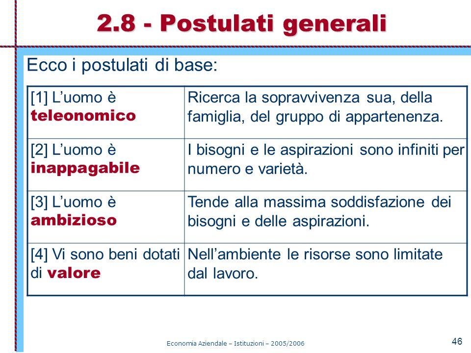Economia Aziendale – Istituzioni – 2005/2006 46 Ecco i postulati di base: 2.8 - Postulati generali [1] Luomo è teleonomico Ricerca la sopravvivenza su