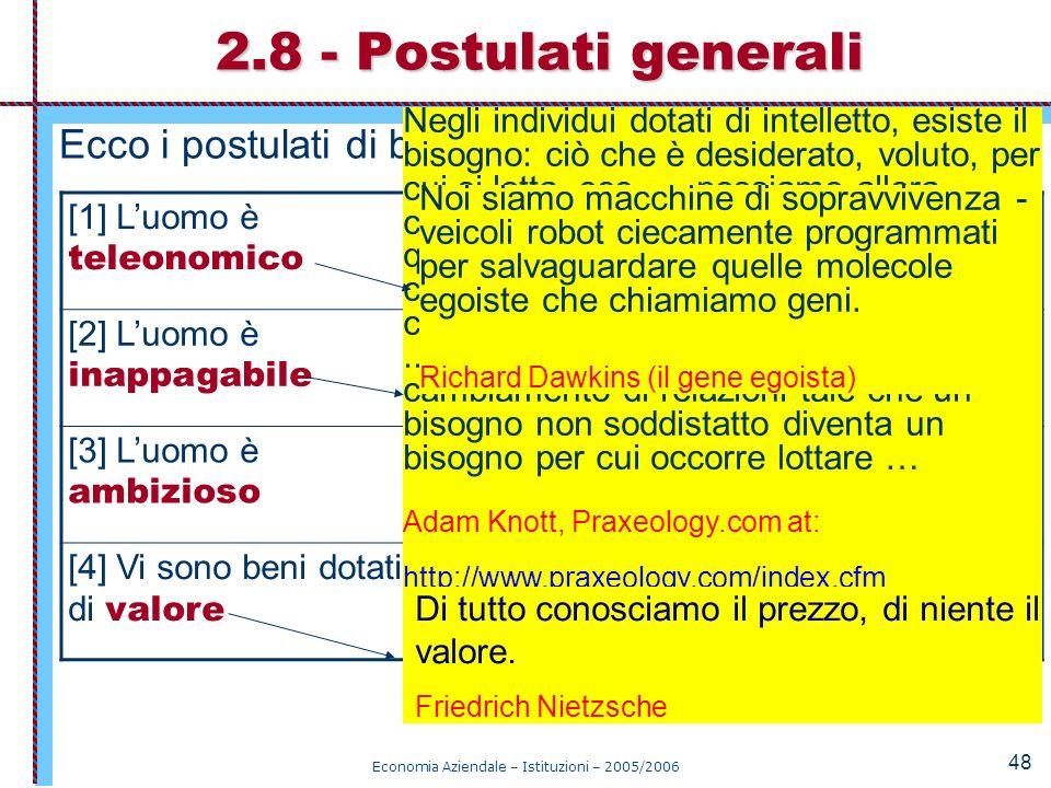 Economia Aziendale – Istituzioni – 2005/2006 48 Ecco i postulati di base: 2.8 - Postulati generali [1] Luomo è teleonomico Ricerca la sopravvivenza su
