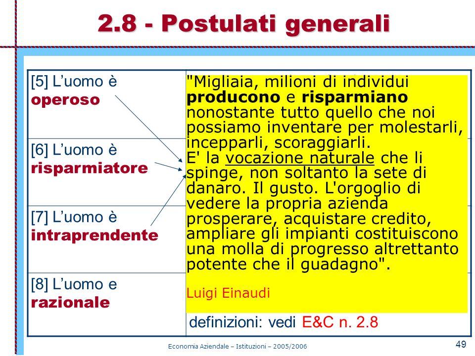 Economia Aziendale – Istituzioni – 2005/2006 49 2.8 - Postulati generali [5] Luomo è operoso Presta lavoro (sacrificio) per svolgere attività di produ