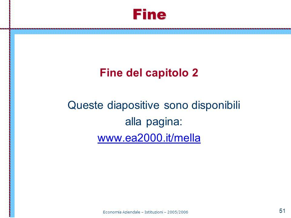 Economia Aziendale – Istituzioni – 2005/2006 51 Fine del capitolo 2 Queste diapositive sono disponibili alla pagina: www.ea2000.it/mellaFine