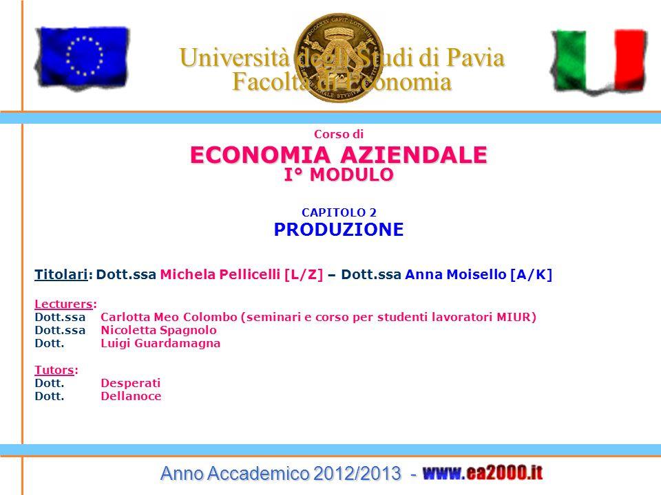 Corso di ECONOMIA AZIENDALE I° MODULO CAPITOLO 2 PRODUZIONE Titolari: Dott.ssa Michela Pellicelli [L/Z] – Dott.ssa Anna Moisello [A/K] Lecturers: Dott