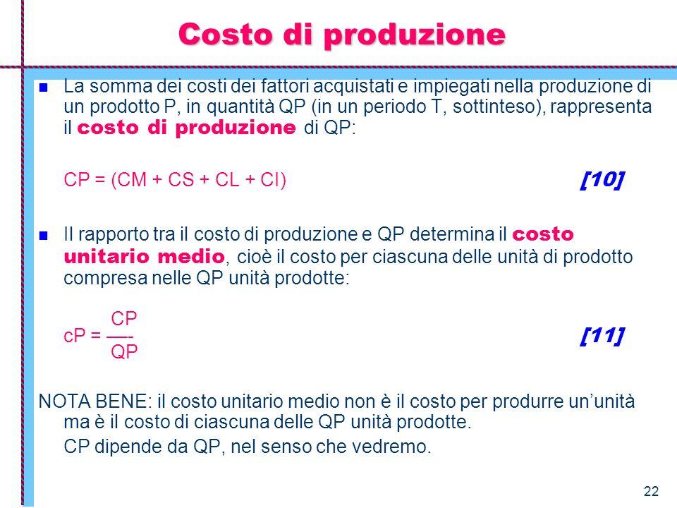 22 Costo di produzione La somma dei costi dei fattori acquistati e impiegati nella produzione di un prodotto P, in quantità QP (in un periodo T, sotti