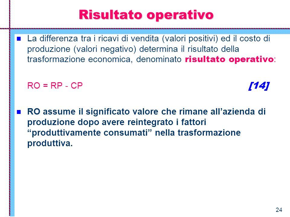 24 Risultato operativo La differenza tra i ricavi di vendita (valori positivi) ed il costo di produzione (valori negativo) determina il risultato dell