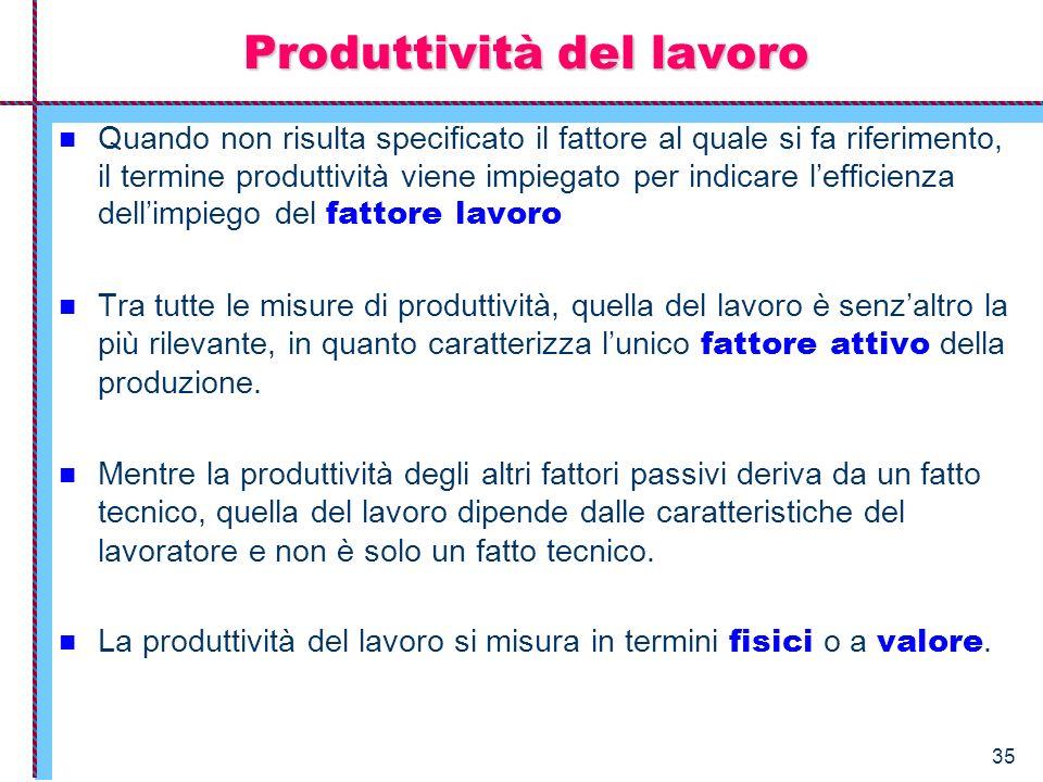 35 Produttività del lavoro Quando non risulta specificato il fattore al quale si fa riferimento, il termine produttività viene impiegato per indicare