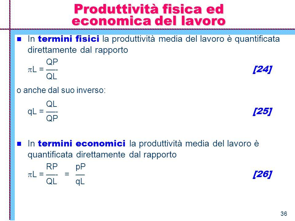 36 Produttività fisica ed economica del lavoro In termini fisici la produttività media del lavoro è quantificata direttamente dal rapporto QP L = ––-