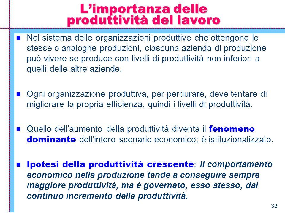 38 Limportanza delle produttività del lavoro Nel sistema delle organizzazioni produttive che ottengono le stesse o analoghe produzioni, ciascuna azien