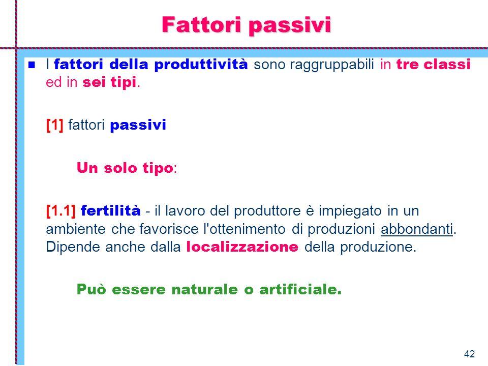42 Fattori passivi I fattori della produttività sono raggruppabili in tre classi ed in sei tipi. [1] fattori passivi Un solo tipo : [1.1] fertilità -