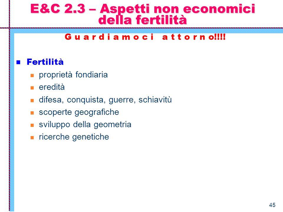 45 E&C 2.3 – Aspetti non economici della fertilità G u a r d i a m o c i a t t o r n o!!!! Fertilità proprietà fondiaria eredità difesa, conquista, gu