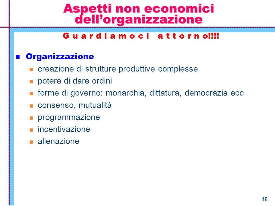 48 Aspetti non economici dellorganizzazione G u a r d i a m o c i a t t o r n o!!!! Organizzazione creazione di strutture produttive complesse potere