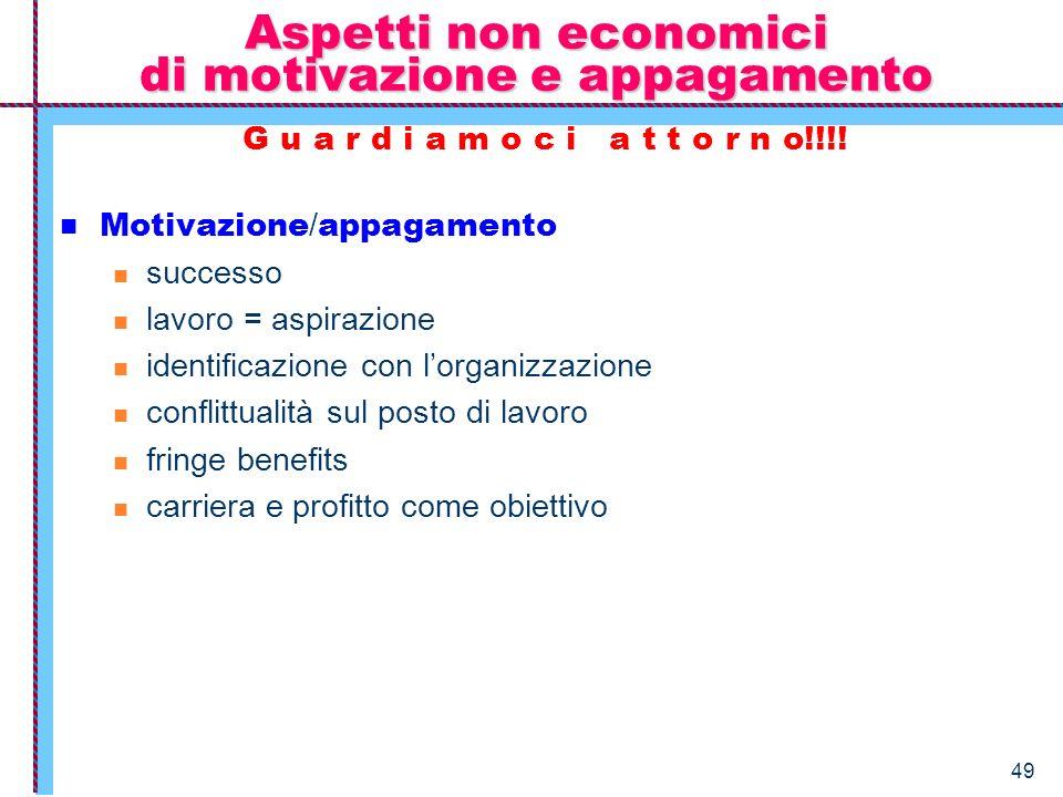 49 Aspetti non economici di motivazione e appagamento G u a r d i a m o c i a t t o r n o!!!! Motivazione / appagamento successo lavoro = aspirazione